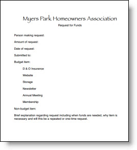 Budget Request - Myers Park Homeowners Association